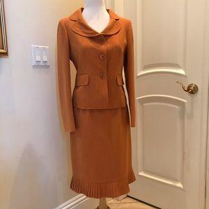 Le Suit pumpkin color skirt set with pleated hem